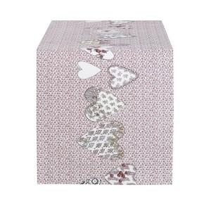 CHEMIN DE TABLE COEUR PETITE FLEUR ROSE 50X150 CM COTON