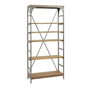 BIBLIOTHEQUE CITY ACACIA & STRUCTURE METAL 80X35XH 170 CM