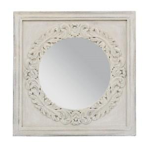 Miroir carre rosace manguier patine gris clair 70x70 cm for Miroir 70x70