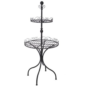 TABLE 2PLA ROND METAL GREIGE 65X65X145CM