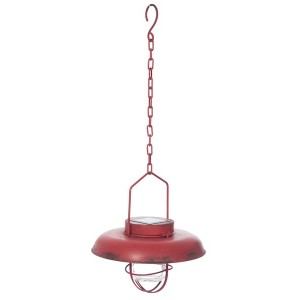 LAMPE PEND LED METAL ROUGE 25X25X63CM