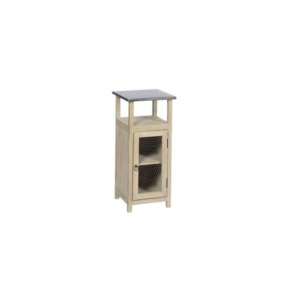 Meuble appoint porte grillage bois metal finition - Meuble d appoint metal ...