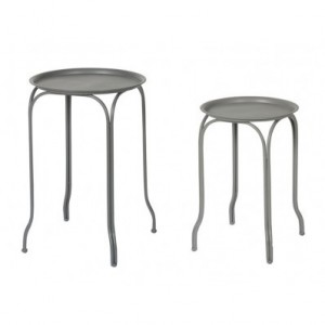 2 TABLES METAL RONDES ANTHRACITE / GRIS CLAIR