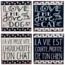 PLAQUE CHAT/CHIEN METAL NOIR/BLANC 25X25CM ASS4