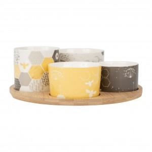 Coupelle x4 fleur+plateau beezz jaune+gris 10xh6.5+8xh7.5+8xh5(2)+d24cm gres+bam