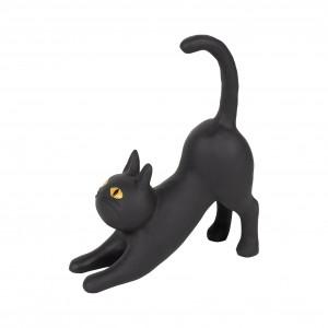 Chat etire chamouflage noir 17x6xh19.5cm polyresine