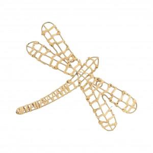 Deco suspendre libellule beezz naturel 15x4.5x3cm rotin+fil fer