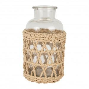 Vase jardin d'hiver naturel d12xh20cm verre+saule