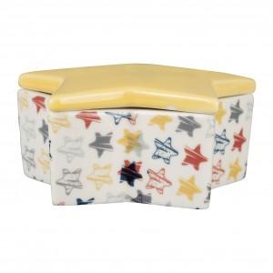 Boite etoile reverie jaune 10.5x10.5xh4.5cm porcelaine