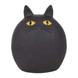 Deco chat rond chamouflage noir 15x12xh17.5cm polyresine